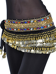 Belly Dance Belt Women's Training Polyester Beading Coins Crystals/Rhinestones