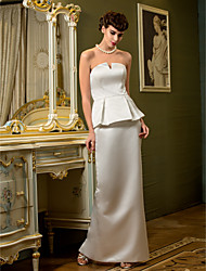 Lanting Bride® Sheath / Column Petite / Plus Sizes Wedding Dress Floor-length Strapless Satin