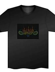 Удивительная музыка Активированный DJ мигающий Красочный эквалайзер электронной танцевальной футболка