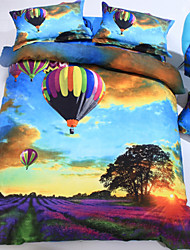Duvet Cover Set,4-Piece 3d Effect Printed Colorful Ballons Full Size