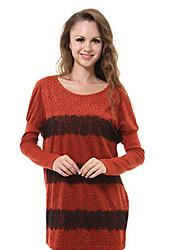 De manga larga de encaje Leopard vestido rojo de empalme de la Mujer Onodar