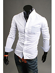 Men's Long Sleeve Shirt , Cotton Blend Formal Pure