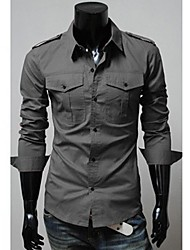 Men's Solid Casual Shirt,Polyester Long Sleeve Black / Red / Gray