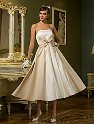Lanting A-line / Princess Petite / Plus Sizes Wedding Dress - Ivory Tea-length Sweetheart Satin