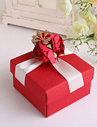 Red Square Favor Box With Red Flower and Ribbon - Set of 12