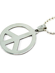 Titanium Peace Sign Silver Pendant Necklace