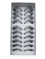 10 Pairs European Human Hair EyeLash Black False Eyelashes