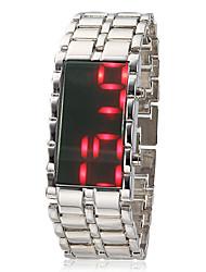 Men's Morror Face Red Led Digital Dial Steel Band Quartz Analog Wrist Watch