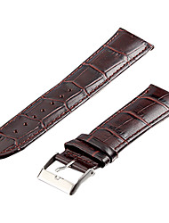 Unisex 24mm Crocodile Grain Leather Watch Band (Dark Brown)