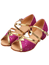 "Women's Kids' Latin Ballroom Sparkling Glitter Sandal Sequin Sparkling Glitter Low Heel Silver Blue Gold Fuchsia Light Blue 1"" - 1 3/4"""