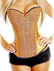 cetim fechamento busk frente e lace-up corset shapewear com glitter (mais cores) shaper lingerie sexy