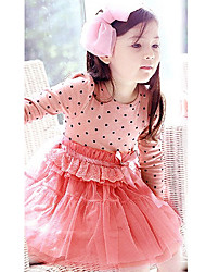 New Baby Girl's Dot Bedeck Tulle Bubble Dress Long Sleeve Dress 2 Colors
