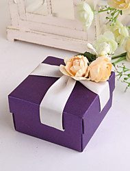 Purple Square Favor Box With Rose - Set of 12