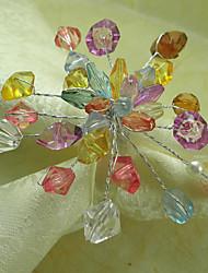 Bunte Blumen Acryl Perlen Serviettenring, 4,5 cm Dia4.2-Satz von 12