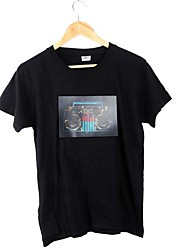 Music Activated Flashing Colorful Equalizer Sound Recorder Pattern LED T-shirt