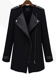 Sara-Wei élégant manteau de Slim Long (Noir)
