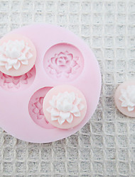 3D Three Hole Flowers Silicone Mold Fondant Molds Sugar Craft Tools Chocolate Mould  For Cakes