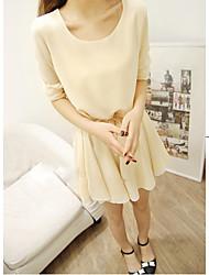 Robe Mengyixuan Solid Color manches longues en mousseline de soie (avec la ceinture)