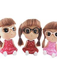 Twin Tail Little Girl Wearing Dress Glasses Meganekko Spring Head ABS Doll Desktop Furnishing Article(Random Color,1PCS)