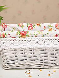 Classic White Rattan Storage Basket