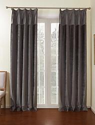(deux panneaux) luxuriante gris rideau d'économie d'énergie solide