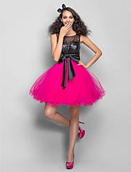 Homecoming Dress - Multi-color Plus Sizes A-line/Princess Scoop Short/Mini Tulle/Sequined