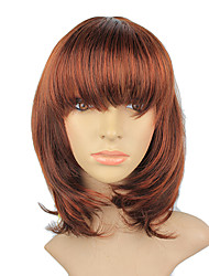 High Quality Synthetic Japanese Kanekalon Charming Synthetic Short Reddish Golden Brown Hair Capless Wig