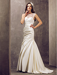 Mermaid / Trumpet Illusion Neckline Sweep / Brush Train Wedding Dress with Appliques by LAN TING BRIDE®