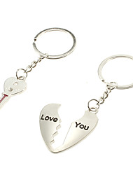 key & Heart Shaped Lovers Couple Metal Keychains