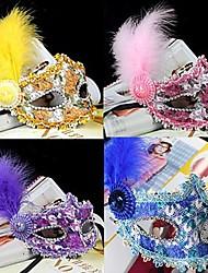 Masque Bal Masqué Cosplay Fête / Célébration Déguisement d'Halloween Violet Incarnadin Jaune Bleu Couleur Pleine Dentelle MasqueHalloween