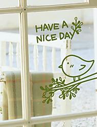 Mignon de bande dessinée d'oiseau de chant fenêtre Autocollants
