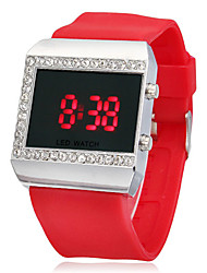 Women's Multi-Functional Diamante Square Dial Silicone Band LED Digital Wrist Watch (Assorted Colors)