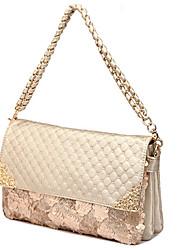 QingWu Leisure Fashion  Obblique Shoulder Diamond Lattice Leather Chain Hangbag(Screen Color)