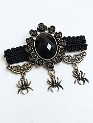 Black Spider Gothic Lolita Brooch with Artificial Gemstone