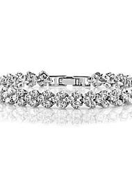 pura incrustaciones brazalete plateado s925 con diamantes de imitación suizos