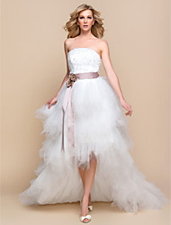 A-line / Princess Wedding Dress - Ivory Asymmetrical Strapless Tulle