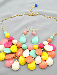 Women's Bubble Colorful Earring&Necklace Set