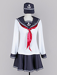 Inspired by Kantai Collection Hibiki Video Game Cosplay Costumes Cosplay Suits / School Uniforms Patchwork White / Blue Long SleeveTop /