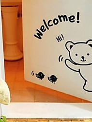 Симпатичный мультфильм приветствуя Медведь Window Наклейки