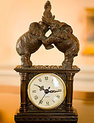"11""H Retro Style Elephant Type Polyresin Tabletop Clock"