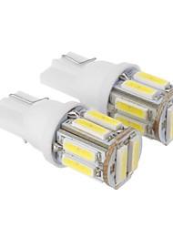 T10 2,5 Вт 10x7020SMD 175LM 6000K холодный белый свет Светодиодные лампы для автомобилей (DC 12 В, 2 шт)