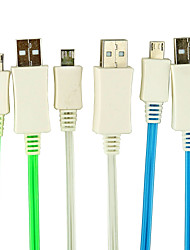 Micro USB Male to USB Male Data Sync And Charge Cable With Visible Shining LED for Android Connector Cellphone