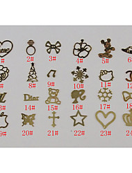 BK Metal Cartoon Nail Decorations Multi-Style No.1-24