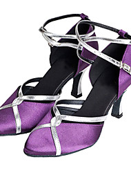 Non Customizable Women's Dance Shoes Modern/Ballroom Satin Customized Heel Purple