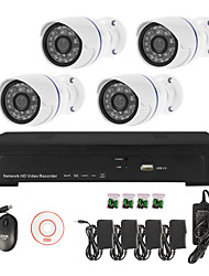 Sinocam® 4CH Network Video Recorder NVR Kit System (4pcs 1.0MP Mini Onvif Waterproof IP Camera),P2P