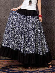 Women's Pastoral Style White Floral Casual Long Skirt