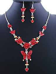 Fashion Silver Alloy (Necklace&Earrings) Gemstone Jewelry Sets(Red,Green,Blue,Purple,Pink,Brown)