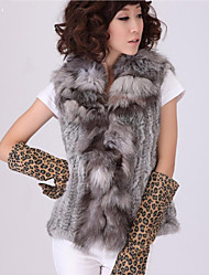 Fur Vest With Sleeveless Pillow Rabbit Fur Party/Casual Vest(More Colors)
