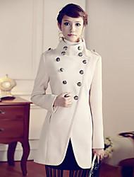 ZhenSiMan Vintage Tweed Double Breasted Military Uniform Coat(Cream)