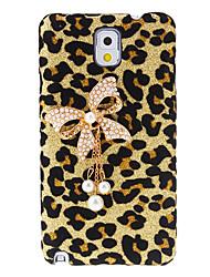 Bowknot Design Leopard Muster Hülle mit Strass für Samsung Galaxy Note N9000 3